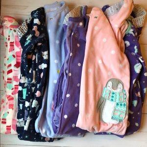 Set of 6 Carters fleece footed pajamas